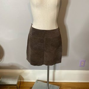 Mossimo 100% Leather Suede Mini Skirt Chocolate